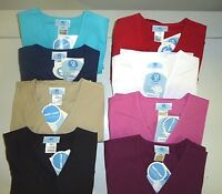 """WOMENS SCRUBS """"SIMPLY BASIC"""" MOCK WRAP TOP W/ ELASTIC BACK,MANY SIZES & COLOR #5"""