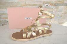 MIU Gr 36,5 Sandalias Correa de las Zapatos Piel cordero platino NUEVO