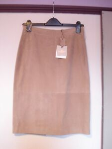 Next Nude Beige Real Suede / Leather Straight / Pencil Skirt 8 RRP £160 BNWT