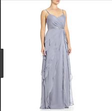 Adrianna papell sleeveless flutter chifon gown GREY UK 12/EU 40 /US (A 42)