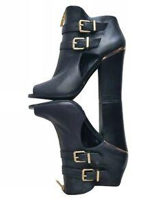 Jessica Simpson Black Leather Peep Toe Bootie Heel Goldtone Size 8.5 JS-Maizy