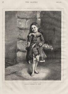 OLD 1875 PRINT ENGRAVING LITTLE GIRL FLOWER SELLER SPRING FLOWERS IN TOWN b38