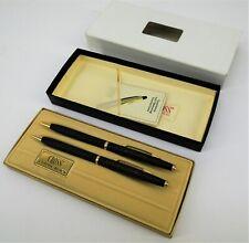 Vintage 1982 GM Buick Dealer Cross Classic Black Ball Pen and Pencil Set #2501