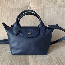 NEW Longchamp Navy Blue MINI Le Pliage Cuir Lambskin Top Handle Crossbody Bag