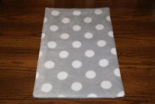 New Grey Polka Dots Fleece Dog Cat Pet Carrier Blanket Crate Pad Free S/H! Bcr