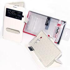 custodia eco pelle bianca cover con View e Stand per Samsung Galaxy A7 SM-A700F
