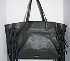 JOELLE HAWKENS WOMEN'S CHYSSIE LEATHER BLACK TOTE BAG FRINGE LARGE $325.00
