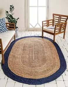 Rug 100% Natural Jute Oval rug handmade reversible modern living Area Carpet Rug