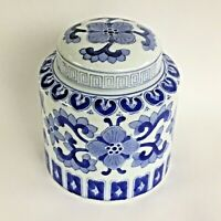 """CHINESE 6"""" TALL ASIAN CERAMIC BLUE & WHITE Canister GINGER TEA JAR W/  LID EUC"""