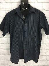 Dolce & Gabana Made In Italy Black & Blue Striped Short Sleeved Shirt 38-39