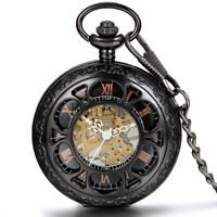 Retro Hollow Carved Roman Numberal Skeleton Hand-winding Mechanical Pocket Watch
