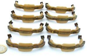SET X 8 CREAM BAKELITE/EARLY PLASTIC & BRASS ART DECO CHEST DRAWERS PULL HANDLES