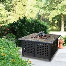 Propane Gas Fire Pit LP Outdoor Deck Patio Heater Tile Fireplace With Cover New