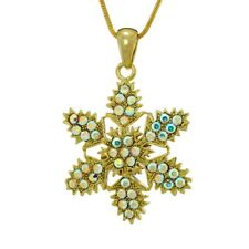 """Snowflake Winter GP Pendant Made With Swarovski Crystal AB Necklace 18"""" Chain"""