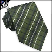 Green, Black and White Plaid Mens Tie thatch check men's necktie