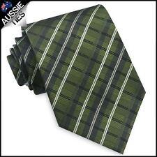Green, Black and White Plaid Mens Tie thatch check men's necktie