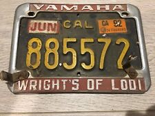 YAMAHA WRIGHT OF LODI Motor Cycle License Plate Frame With black ca Plate