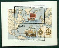 ICELAND #751 Souvenir sheet Ships & Maps og, NH, VF, Scott $13.50