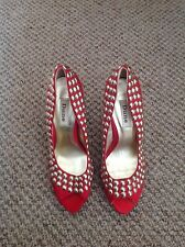 Dune red satin studded peep toe shoes heels size 5