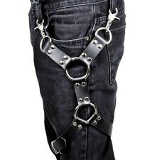 2 O Ring Black Leather Thigh Leg Harness Cosplay Gothic Punk Alternative Grunge
