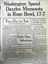 1961 newspaper UNIVERSITY OF WASHINGTON WINS Rose Bowl football game v Minnesota