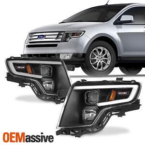 For Ford Edge 2007-2010 LED Light Bar DRL Projector Headlights - Black Housing