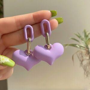 2021 Charm Acrylic Color Love Heart Dangle Earrings Stud Women Jewelry Gifts New