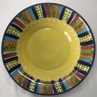 "Crate & Barrel Ceramic Pasta Serving Bowl Lamas Yellow Mariachi Boho Italy 12"""