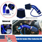 Blue 3cold Air Intake Filter Induction Kit Pipe Power Flow Hose System Car Auto
