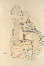 Gustav Klimt Drawings: Seated Figure, Dress drawn up - Fine Art Print