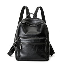 Women's Genuine Leather Black Backpack Satchel Rucksack Shoulder School Bag