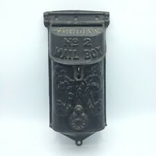 VINTAGE ANTIQUE BLACK CAST IRON NO. 2 MAIL BOX Ornate Heavy