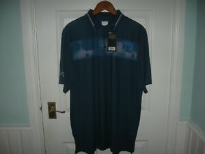 BNWT MENS CALLAWAY OPTI DRI DIFFUSED HERRINGBONE GOLF POLO SHIRT L DEEP DIVE
