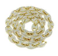 Men's Iced Gucci Link Choker Necklace 14K Gold Finish 16-30'' Hip Hop 12MM