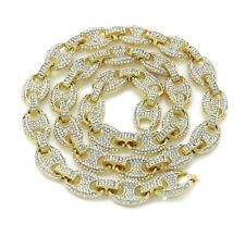 Men's Iced 12mm Mariner Link Choker Necklace Bracelet 14K Gold Finish 16-30''