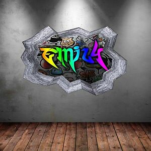 FULL COLOUR PERSONALISED 3D GRAFFITI NAME CRACKED WALL ART STICKERS MURAL WSD134