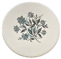 Vintage Mid Century Modern Round Tile Trivet Coaster Black Teal Flower Signed