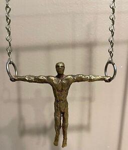 Vintage 70s Bronze Gymnast Rings Kinetic Sculpture Mid Century Modern Brutalist