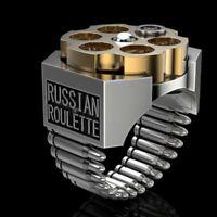 Cool Men Jewelry Men's Fashion Ring 925 Silver Bullet Ring Gold Lapis Inlay Ring