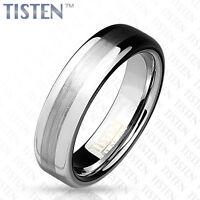 6mm Mens TISTEN Tungsten & Titanium Mix Brushed Metal Wedding Engagement Ring P1