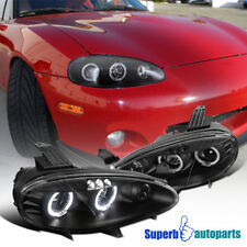 2001-2005 Mazda Miata MX5 Led Dual Halo Projector Headlights Black SpecD Tuning