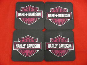 4 x Neoprene Drink Coasters 10cm x 10cm YOUR DESIGN OR LOGO Pink Harley Davidson