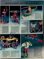 1979 ADVERT Toy Mego Batman Mobile Bat Lab Remco Spiderman Incredible Hulk ++