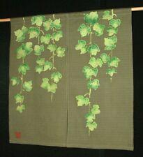 Kyoto Ivy Green Noren Door curtain Roketsu Dye Handpaint 85x90cm Japan