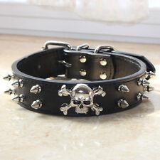 Spiked Studded Skull Leather Pet Dog Collars for Medium Large Breed Pitbull