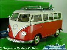 VOLKSWAGEN T1 CAMPER VAN BUS MODEL CAR RED 1:24 SURF SPLIT SCREEN WELLY LARGE K8