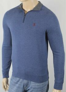 Polo Ralph Lauren Blue 1/2 Half Zip Sweater Wine Pony NWT