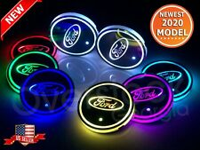 2Pcs Switchable 7 Rgb Color Led Car Cup Holder Pad Mat Atmosphere Light Fit Ford