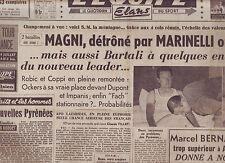 journal  l'équipe du 12/07/49 CYCLISME TOUR DE FRANCE 1949 MARINELLI FACHLEITNER