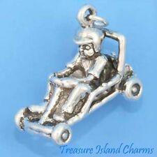 Boy Child In Go-Kart Race Car Karting Heavy 3D 925 Solid Sterling Silver Charm